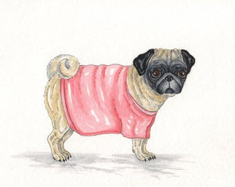 ORIGINAL PAINTING of a  Pug ... a Watercolor Painting