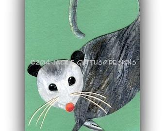 Possum art 5 x 7 giclee print, Woodland nursery art, Opossum, Forest nursery art, Forest animal collage, Acrylic painting print, Cabin decor