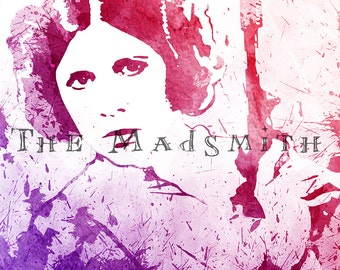 Princess Leia Star Wars Disney Pink Purple Watercolor Paint Splatter Art Print Instant Download