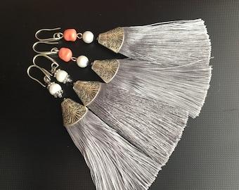 Elegant  Long Purple Beaded tassel earrings. Lenght 11 cm.
