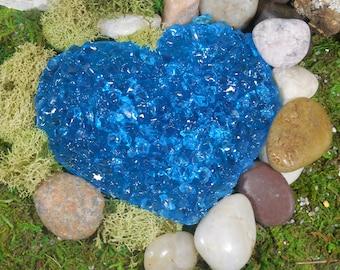 Fairy Garden Turquoise Heart Shaped Pond ~ Little Heart Pond Fairy Terrarium Accessory ~ Miniature Garden Landscape & Fairy Garden Supply