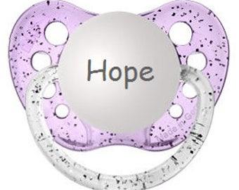 Silicone Child Dummy - Girl Personalized Binky - Engraved Newborn Baby Gift - Glitter Baby Binkie - Newborn Child Soother - Hope Pacifier