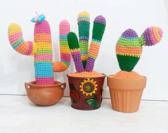 3 x 1 Colorful Cactus Collection, Amigurumi Pattern