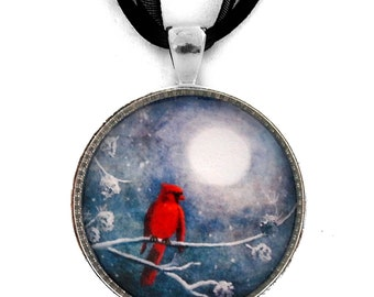Cardinal Pendant Red Bird Necklace Christmas Night Zen Moon Winter Snow Tree Branches Pine Cones Handmade Jewelry Boho Gypsy Gift for Her