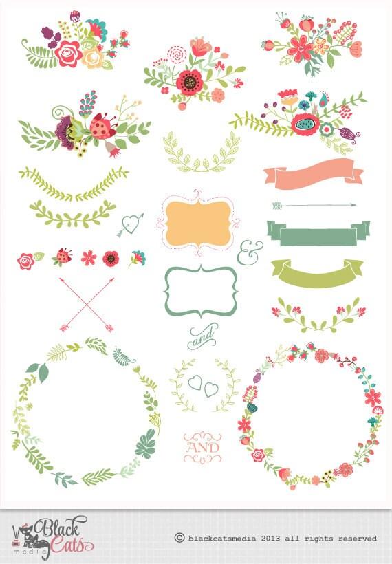 Marcos de flores y encajes cintas Digital de imágenes