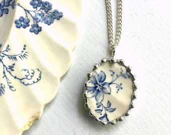 Dishfunctional Designs original Broken china jewelry - delicate floral - antique blue white English transferware - Dishfunctional Designs
