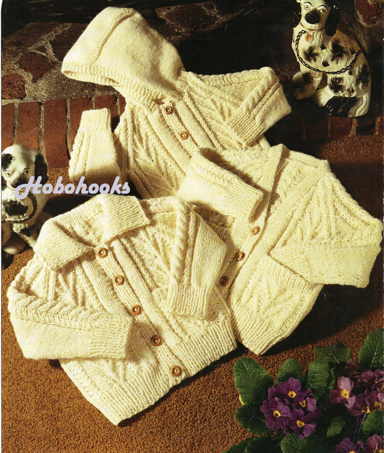 baby childs childrens aran cardigans knitting pattern PDF cable ...