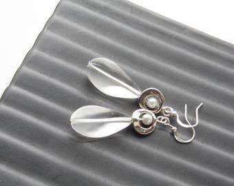 Beach glass earrings - silver and white earrings - clear glass dangles - sea glass - pearl and glass earrings - modern - gypsy
