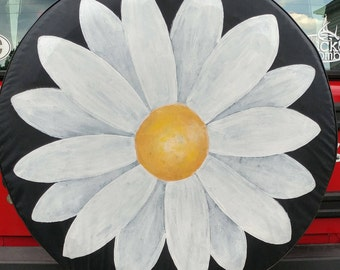 Hand Painted Daisy Tire Cover