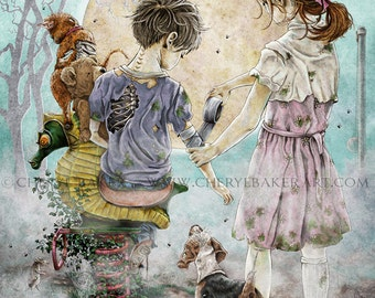 Whimsical Art - Zombie - Zombie Apocalypse - Zombie Art - Boy and Girl - Cute Zombie - Zombie Love - Zombie Wedding - Zombie Dog - Cute