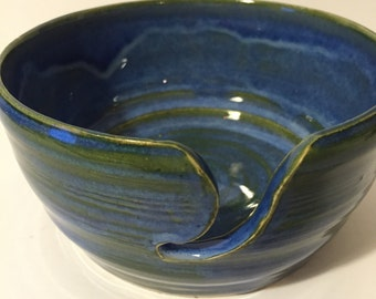Yarn Bowl Stoneware Pottery Yarn Bowl, Crochet Bowl, Knitting Yarn Bowl, Fruit Bowl or Decorative Bowl Gift for Her/ Blue & Green Glazed