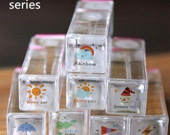 Korean Crystal weather Stamp Set -- Rubber Stamp -- Deco Stamp -- 8 pcs