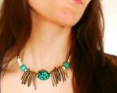 Turquoise & Coconut Boho Chic Statement Necklace - Gemstone Wood and Bone Beaded Eco Choker