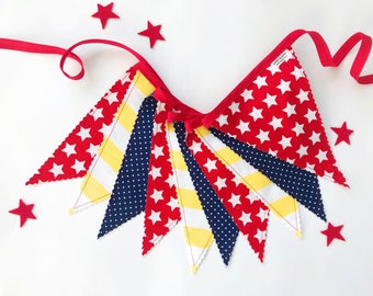 Superhero Fabric Pennant Banner, Bunting, Garland - Red, White, Yellow, Navy Blue - READY TO SHIP!