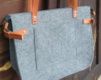 Grey felt tote bag, Felt Bag, Large Tote, Shopper Bag, Leather Handles, Tote Bag, Tote Felt, shoulder bag, Handbag, Summer