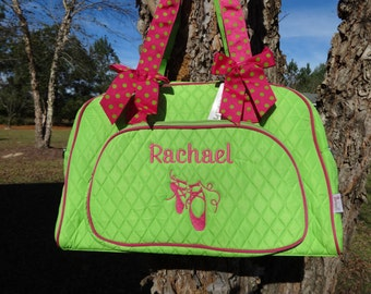 Personalized  Dance Bag   Ballet Bag Dance Duffle Bag  Girls Ballet Bag Lime Green DANCE BAG