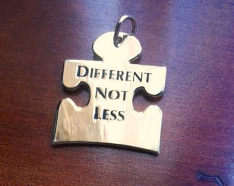 Autism Puzzle Piece Gold Pendant DIFFERENT NOT LESS