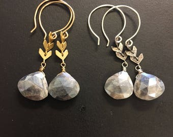 MADE by MAGGIE - Luxe Collection - GEMSTONE edition - Silverite and chevron drop earrings - in gold or silver
