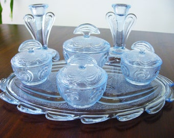 Art Deco Bagley Blue Glass  Dressing Table Set ... Rutland pattern ... Bedroom Decor ... Stunning Set ... Wedding Gift