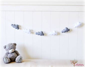 Garland decoration bedroom baby, little hearts or stars and cloud