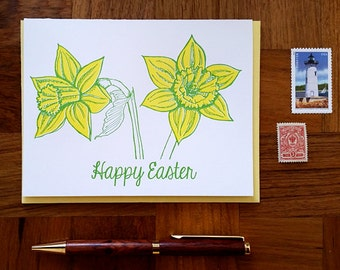 Happy Easter, Daffodils, Letterpress Greeting Card, Blank Inside