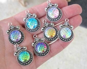 Mermaid silver charms, Mermaid scale, Holographic pendants, silver charm, silver mermaid, dragon skin pendant, snake skin charm, US seller
