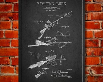 1929 Fishing Lure Patent, Canvas Print, Wall Art, Home Decor, Gift Idea