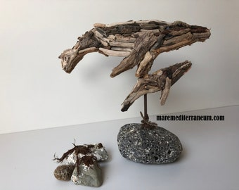 Whales in sea wood, driftwood, boisflotté, whales, ocean art