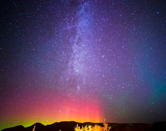 Photo of the Milky Way and the Northern Lights over Whitefish, Montana