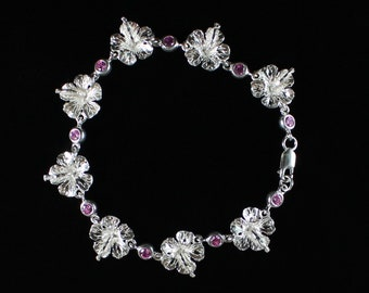 Large Hibiscus Handband Chain Bracelet with Pink Synthetic Stones in Sterling Silver