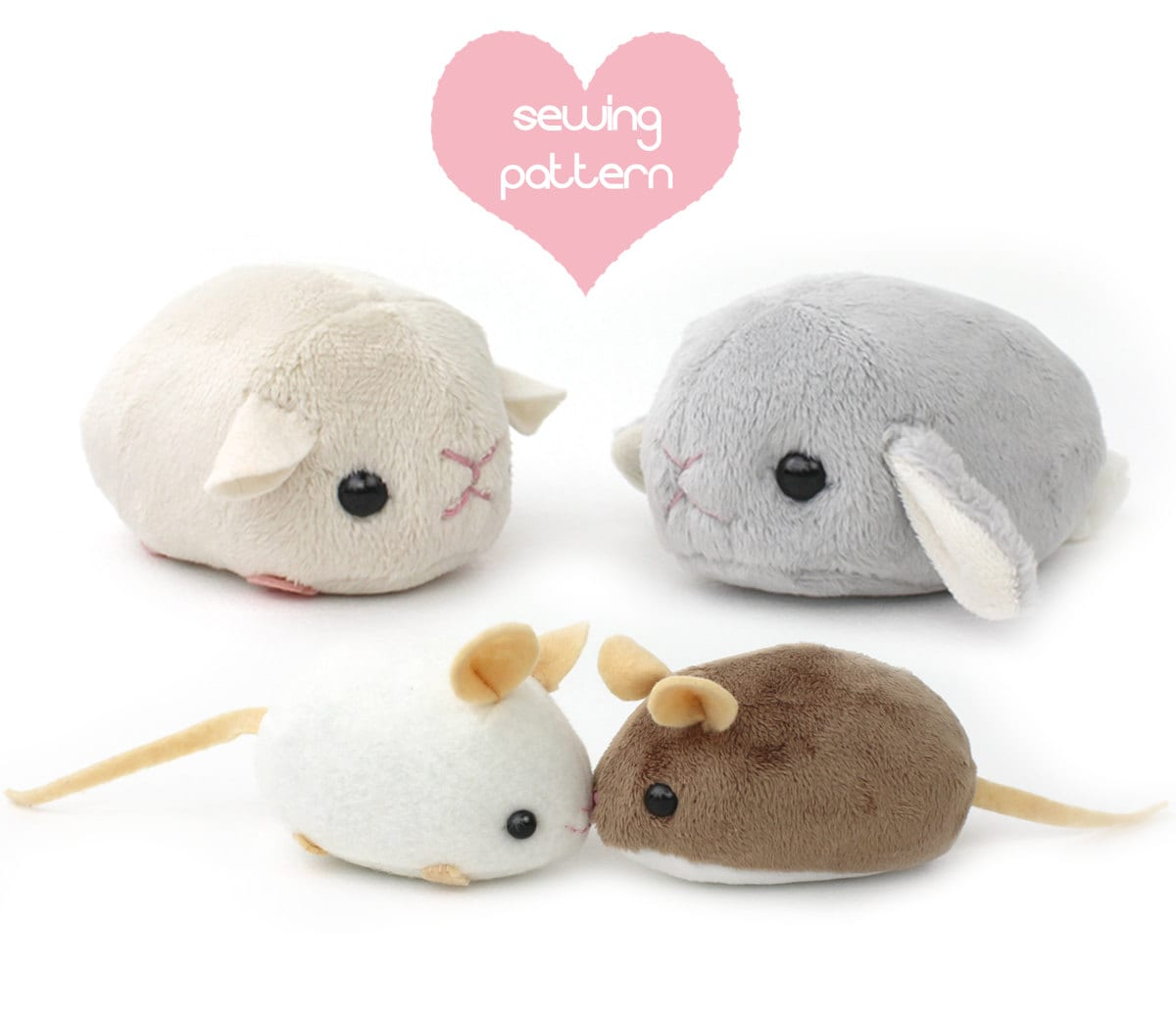 PDF sewing pattern stuffed animal hamster mouse rat guinea