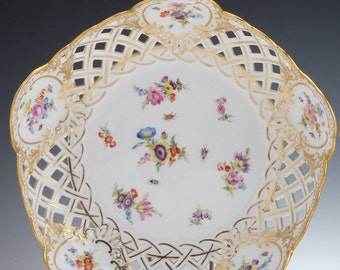 a meissen porcelain reticulated bowl | c. 1880