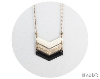 Tika necklace ombre ivory gold glitter black triple chevron || Enamel and brass arrow necklace
