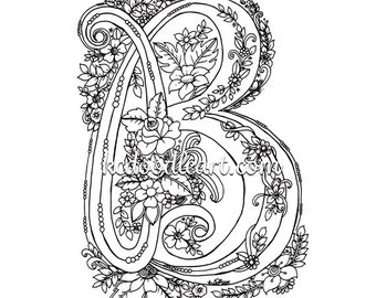 instant digital download - coloring page for adults and children - letter B with flower designs
