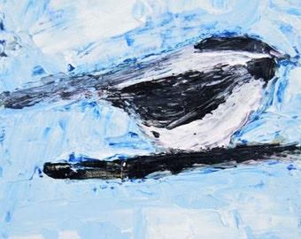Animal Portrait Painting. Acrylic Chickadee Bird Painting. Songbird Wildlife Miniature Art Painting. Cottage Chic Decor. No 5