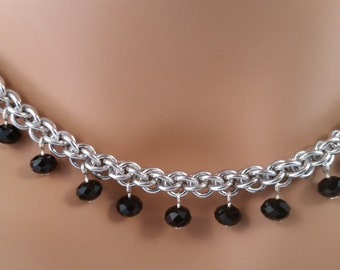 Jens PIND chainmail necklace with Black Crystals, Chain mail necklace, chain maille necklace, chainmail necklace