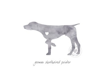 German Shorthaired Pointer Dog Watercolor Painting Digital Art Print Silhouette Custom Wall Decor, Home, Office, Nursery, Room Decor