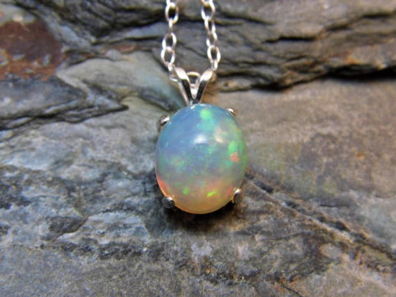 Ethiopian opal pendant necklace sterling silver natural opal aloadofball Images