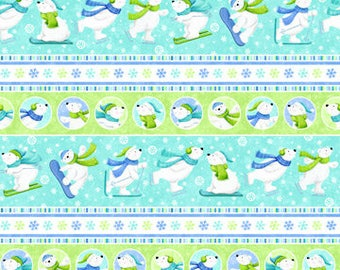 Stripes Bears Flannel - Snow Bears by Deborah Edwards for Northcott - Flannel Fabric - Christmas Flannel  - Children Flannel - Kids Flannel