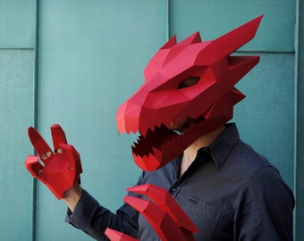 Dragon Mask V2 - Make your own card mask with this simple PDF template. Great for Halloween. & DIY Halloween costumes | Etsy