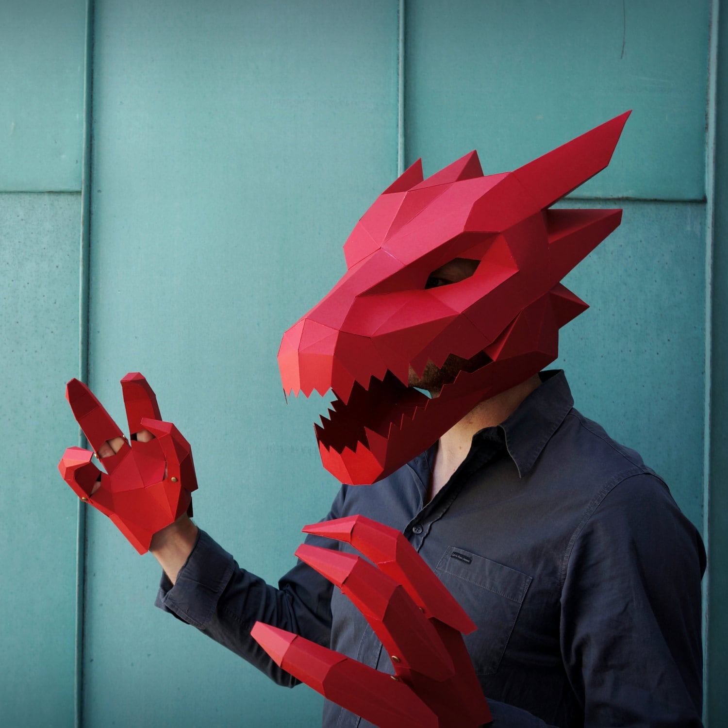Diy halloween costumes etsy dragon mask v2 make your own card mask with this simple pdf template solutioingenieria Choice Image