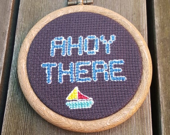 Ahoy There cross stitch in 9cm embroidery hoop // Sailing // Boats // Presents for boys // Seaside gifts // Holiday
