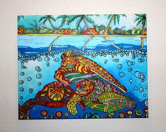 Sea Turtles in Paradise - Handpainted Acrylic Painting on Stretched Canvas