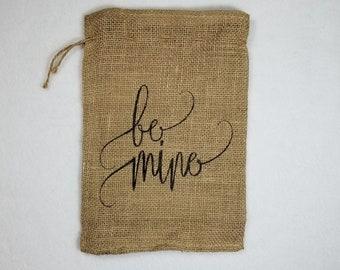 Burlap Bag, Be Mine Valentine's Day Holiday Bags, Burlap Gift Bags, Gift Bags, Goodie Bags, Party Bags, Valentine's Party Bags, Valentine's