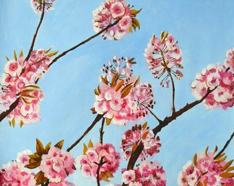 Cherry Blossom Painting ORIGINAL Acrylic painting Branch of Cherry Blossoms Spring Painting Gift for Mom Plum blossom branch Pink Flowers