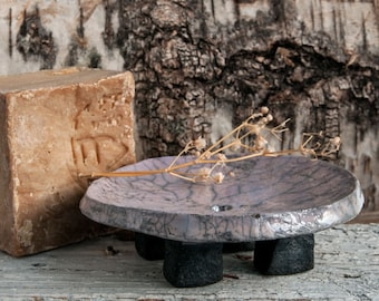 Raku Ceramic Soap Dish, one of a kind, OOAK