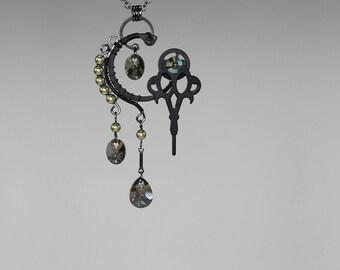 SteampunkPendant, Iridescent Green Swarovski Crystal and Pearls, Swarovski Necklace, Green Crystal, Bridal Jewelry, Phthonus v5