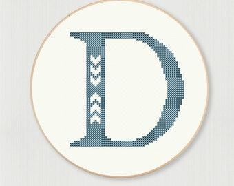 Cross stitch letter D pattern with chevron accent, instant digital download