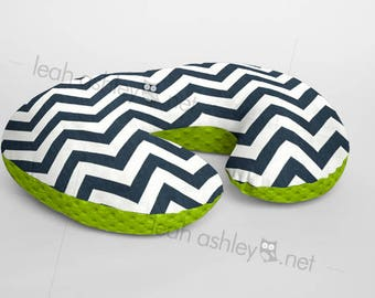 Boppy® Cover, Nursing Pillow Cover - Navy/Ivory Chevron MINKY with Lime Green MINKY Dot or MINKY Smooth - Choose Your Minky Type - BC2
