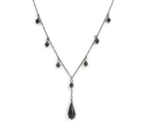 Victorian Style Mourning Necklace Black Glass Beads Vintage 17 Inch Choker